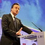 Picture of David Cameron speaking at the CBI