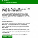 Fatal Accident Act 1976, A Petition to Change the Law